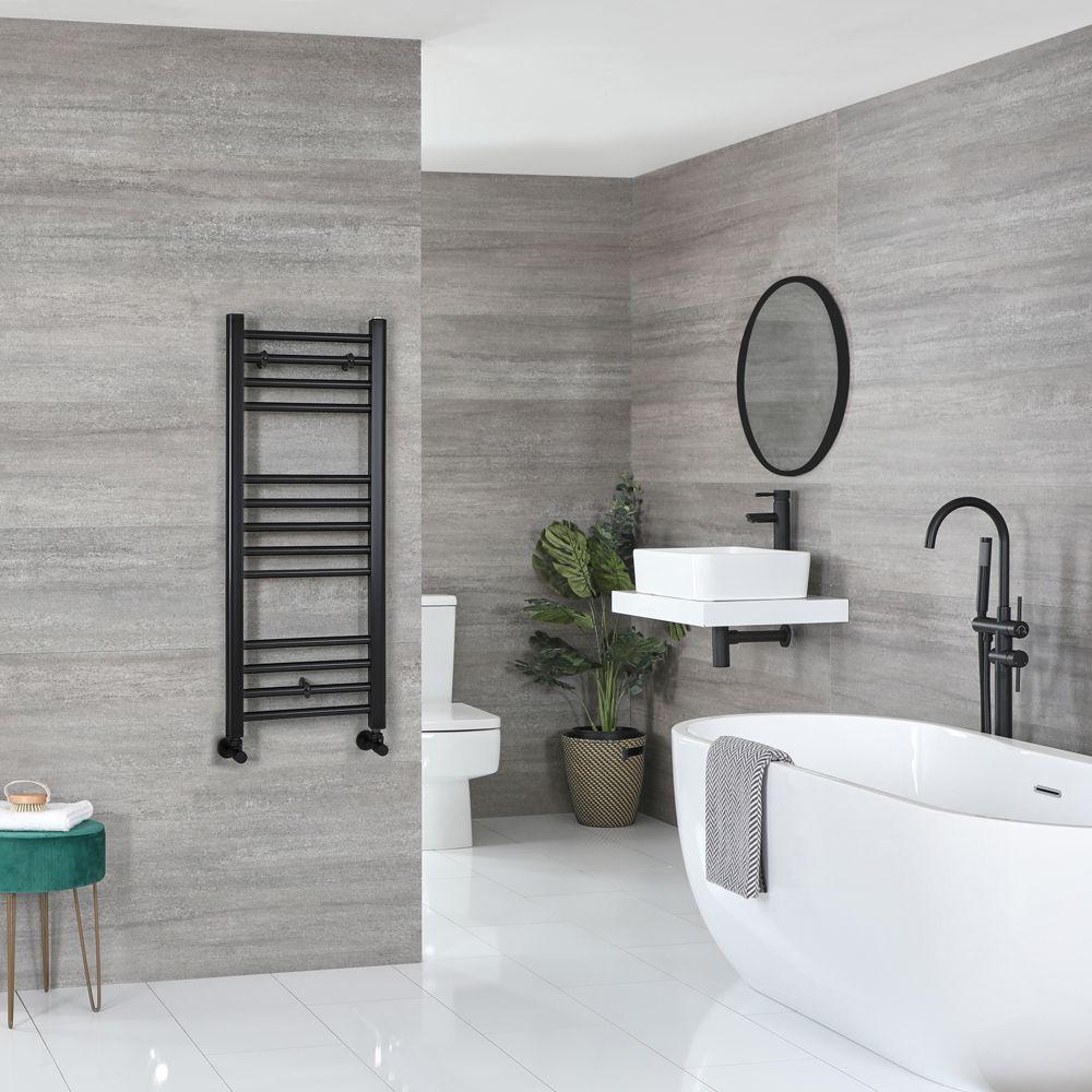Designer Black Nickel Stainless Steel Heated Towel Rail 300mm x 1000mm high
