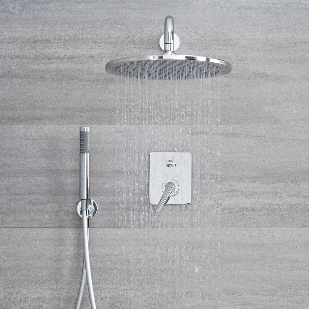 Modern Manual Mixer Shower Valve with 2 Outlets Chrome Milano Ashurst