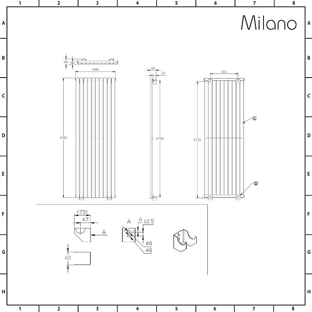 Vertical Oval Column Designer Radiator Milano Aruba Anthracite 1780 x 590mm