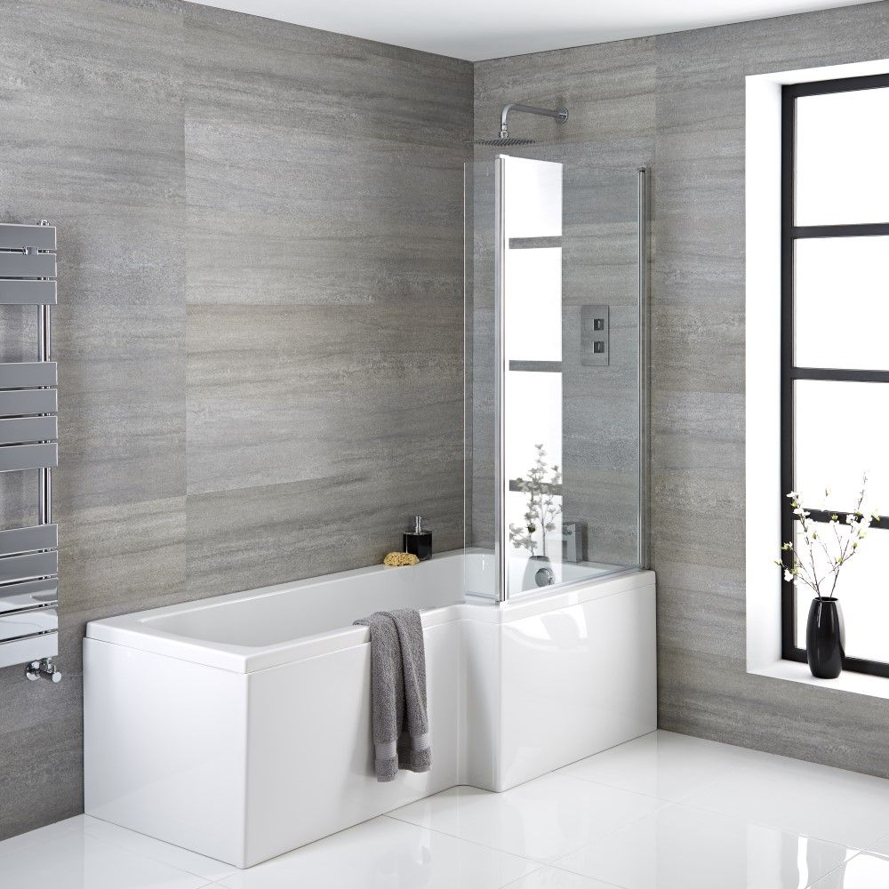 Milano Elswick 1700mm X 850mm Right Hand Square Shower Bath Choice Of Panels Screen And Waste
