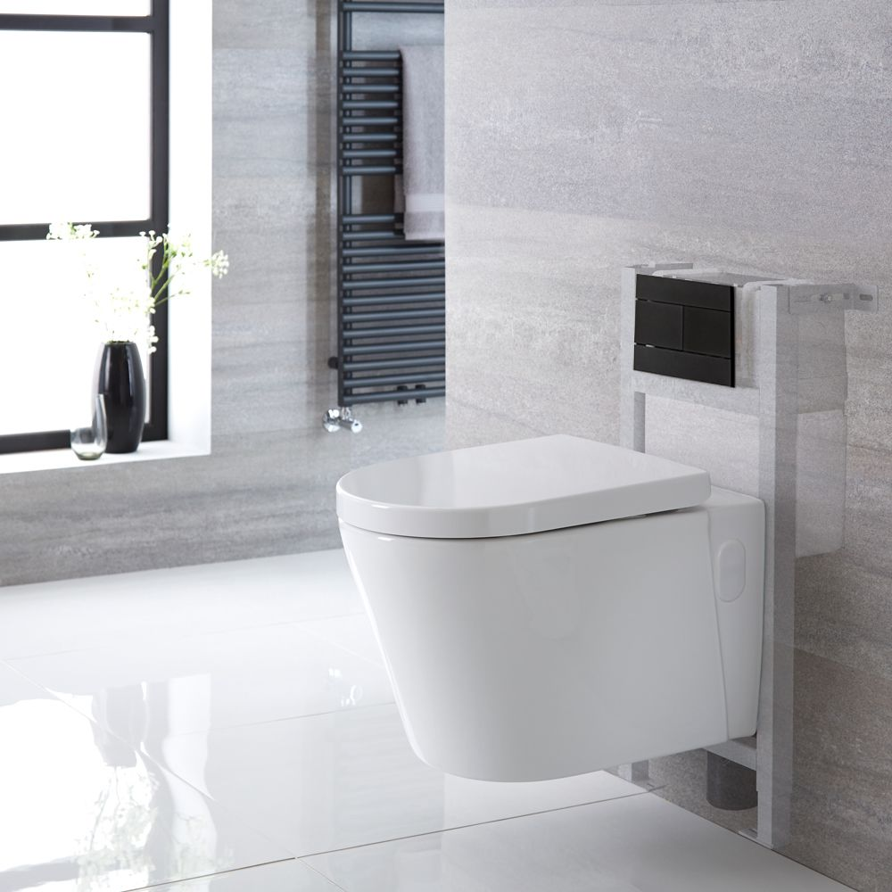 Milano Ballam White Modern Wall Hung Toilet With Short Wall Frame Choice Of Flush Plate