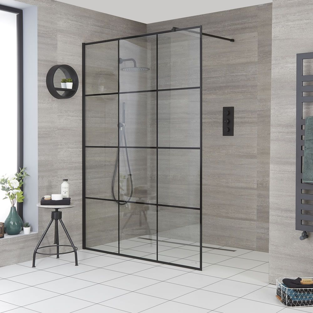 Milano Barq Recessed Wet Room Shower Enclosure Choice Of Glass And Drain