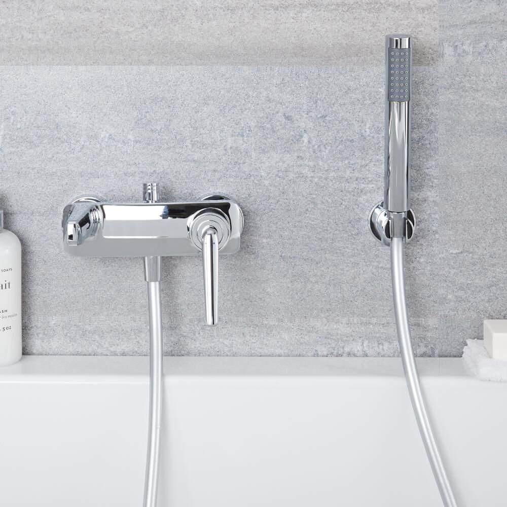 Milano Vora Wall Mounted Bath Shower Mixer Tap With Hand