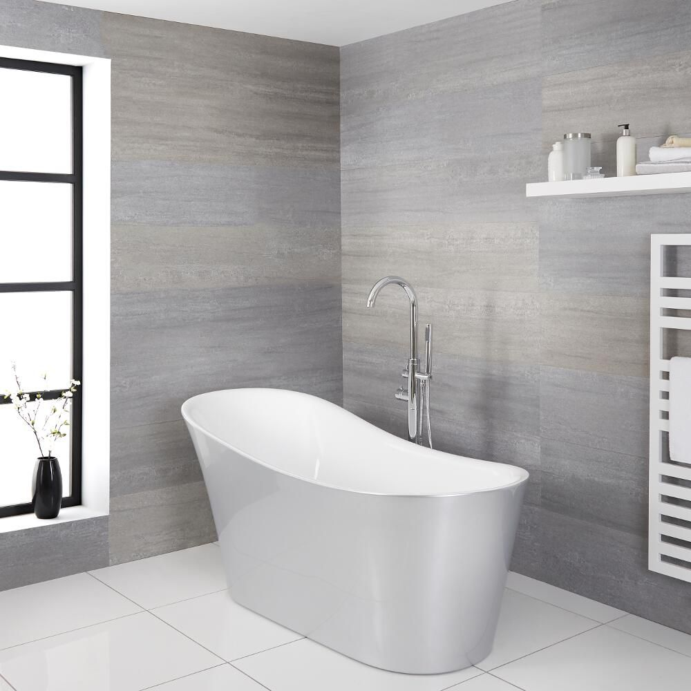 Black And Silver Bathroom.Milano Select Silver Modern Freestanding Slipper Bath 1710mm X 745mm