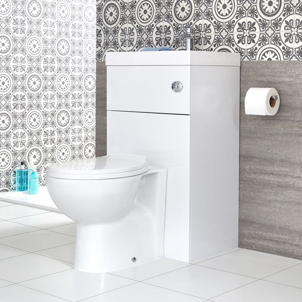 Strange Milano Lurus White Modern Select Toilet And Basin Unit Combination 500Mm X 890Mm Evergreenethics Interior Chair Design Evergreenethicsorg