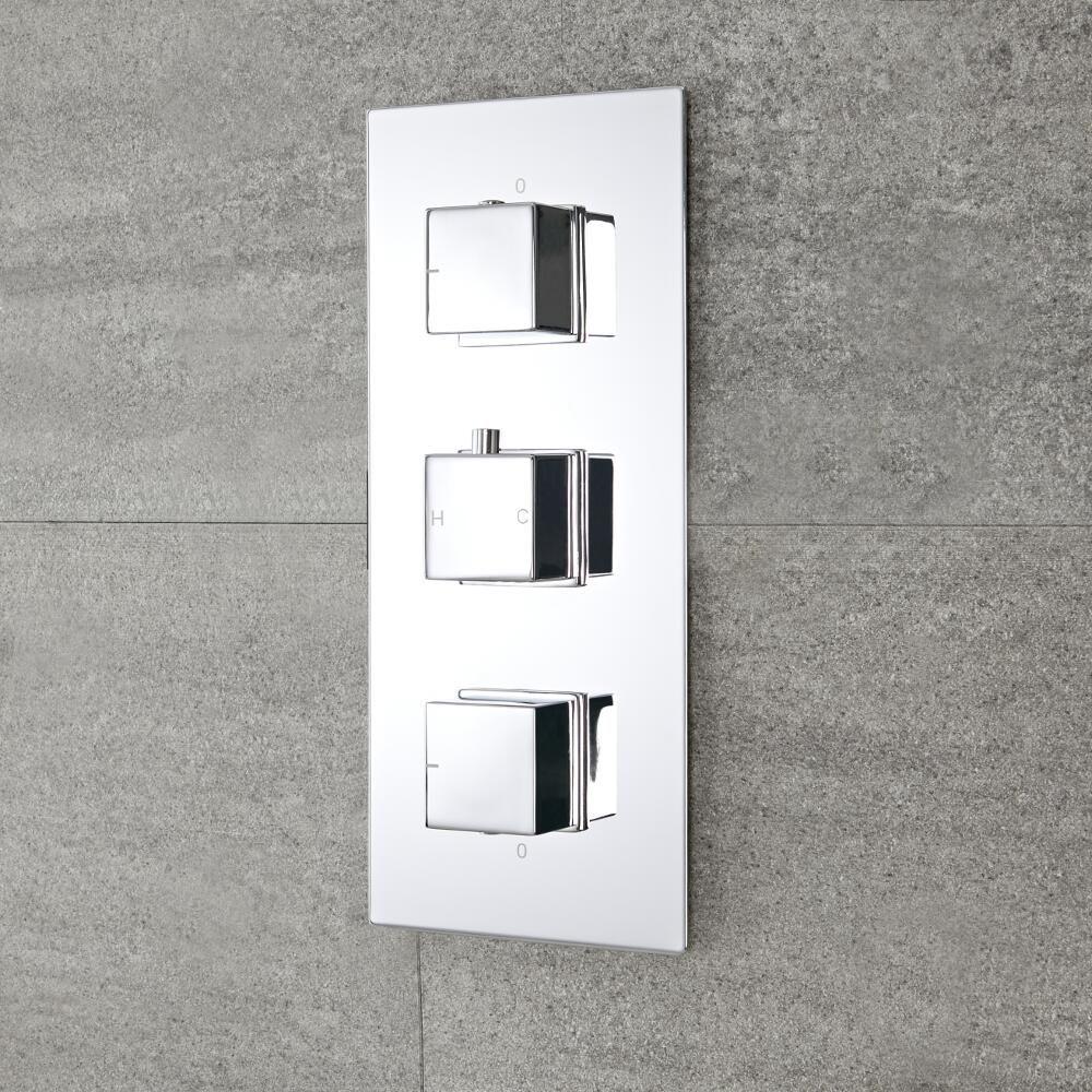 Milano Arvo - Modern 2 Outlet Square Triple Diverter Thermostatic Shower  Valve - Chrome