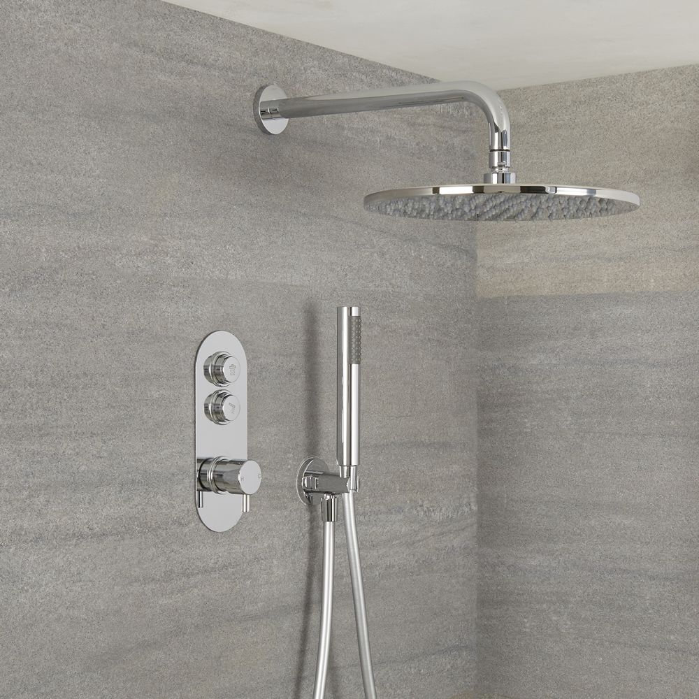 Milano Orta Modern 2 Outlet Shower With Push Button Valve Hand Shower And Round Wall Mounted Rainfall Shower Head Chrome