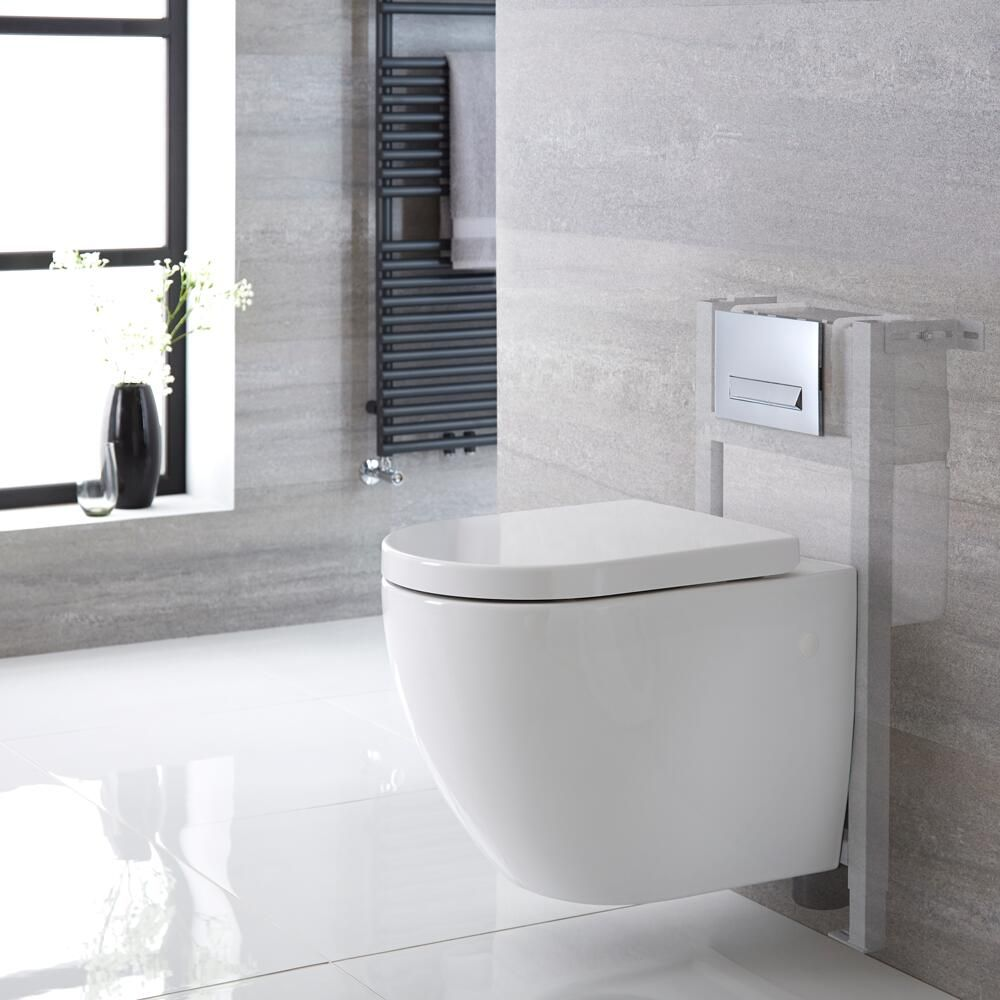 Milano Irwell White Modern Wall Hung Toilet With Short