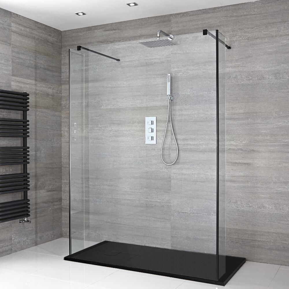 Walk In Shower Panels.Milano Nero Floating Walk In Shower Enclosure With Slate Tray And Hinged Return Panels Choice Of Sizes