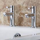 Milano Mirage - Modern Bath Pillar Taps - Chrome