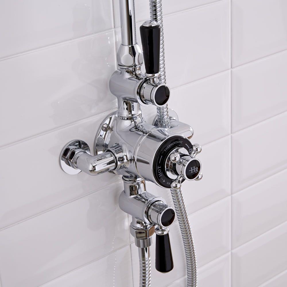 Hudson Reed Triple Exposed Traditional Shower Valve - Chrome/Black
