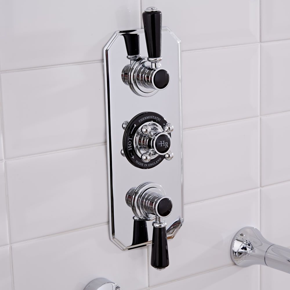 Hudson Reed Triple Concealed Traditional Shower Valve - Chrome/Black