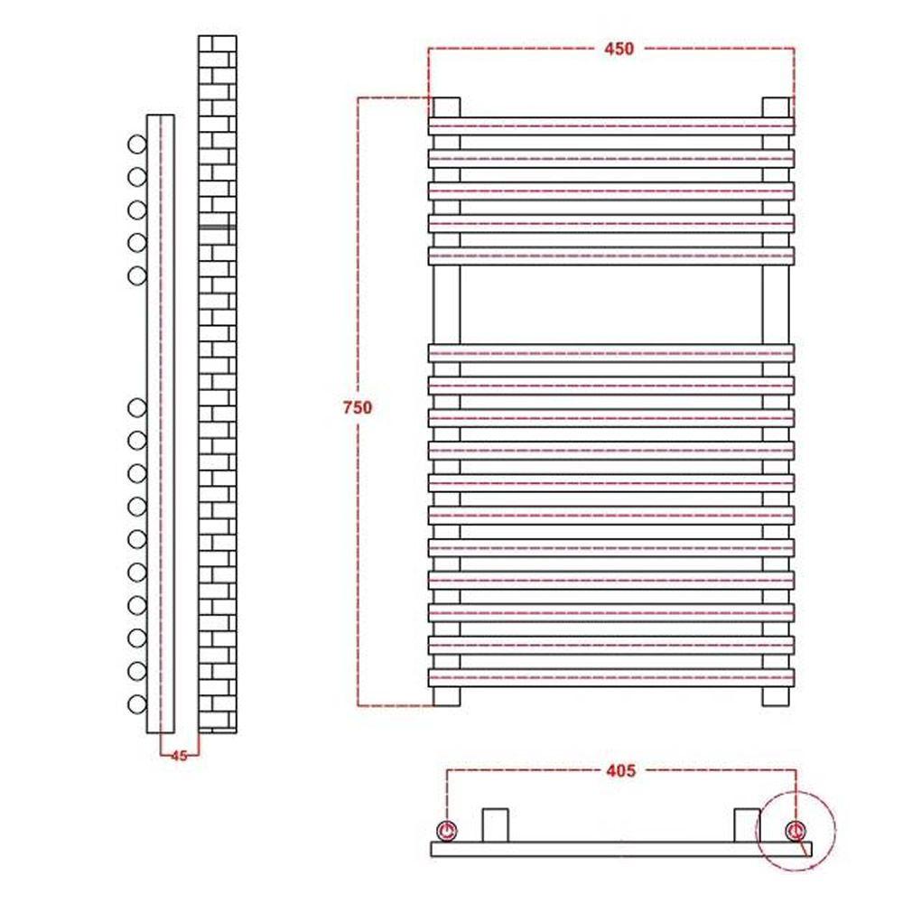 Kudox Electric Flat Chrome Bar On Heated Towel Rail 750mm X 450mm Warmer Wiring Diagram