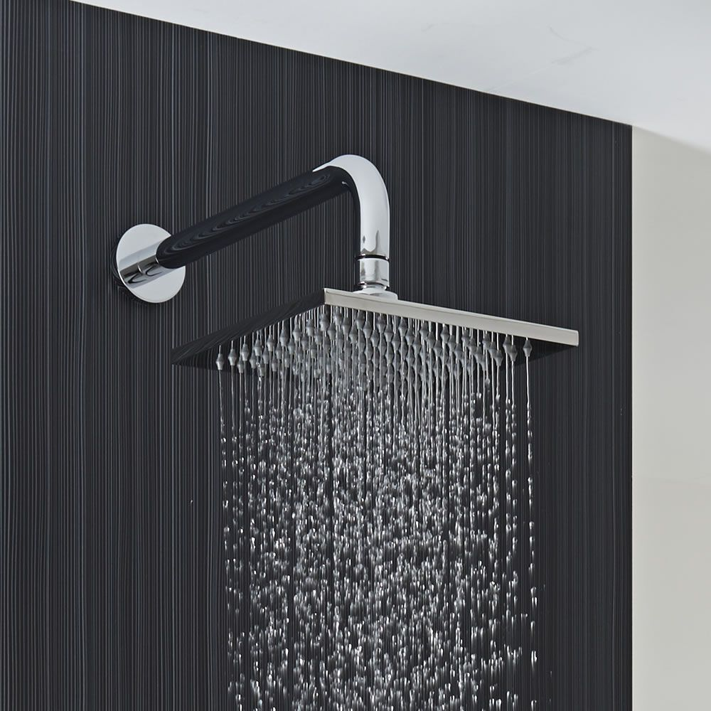 milano 200mm square stainless steel shower head and arm. Black Bedroom Furniture Sets. Home Design Ideas