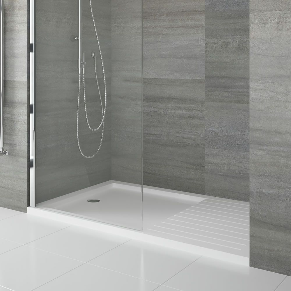 Premier 1600 x 800mm Acrylic Rectangular Walk-in Shower Tray with ...