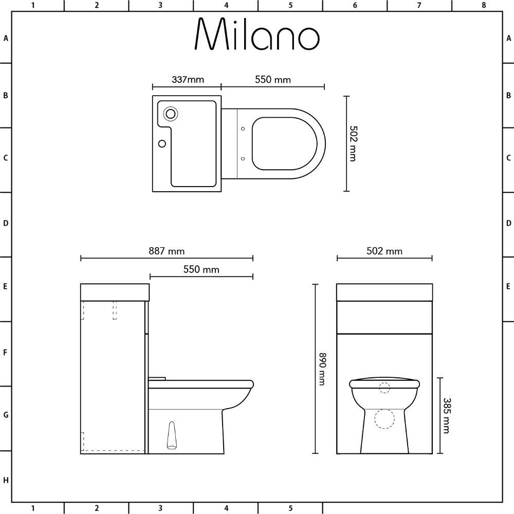 Milano Lurus - Stone Grey Modern Linton Toilet and Basin Unit Combination -  500mm x 890mm