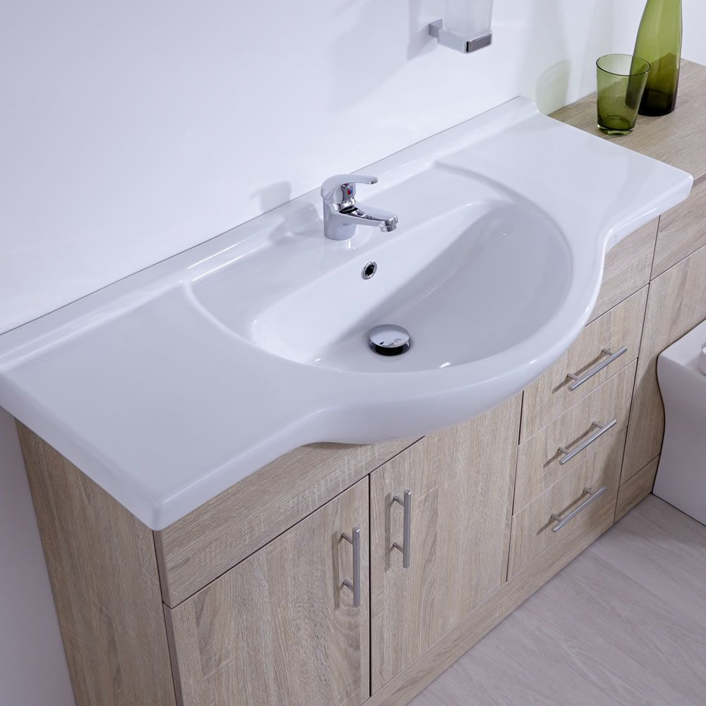 Milano 1540mm classic oak vanity combination unit wc with - Bathroom combination vanity units ...