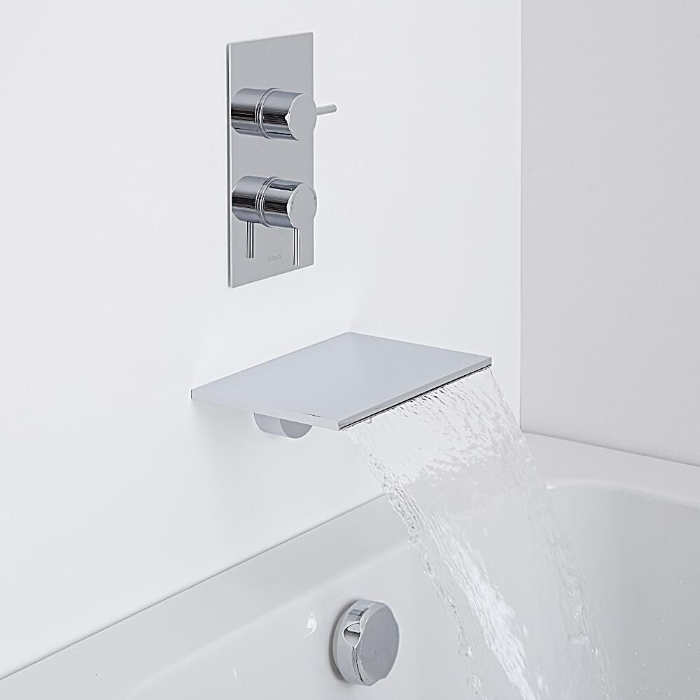 Milano Wall Mounted Waterfall Bath Filler Amp Round Concealed Thermostatic Shower Valve