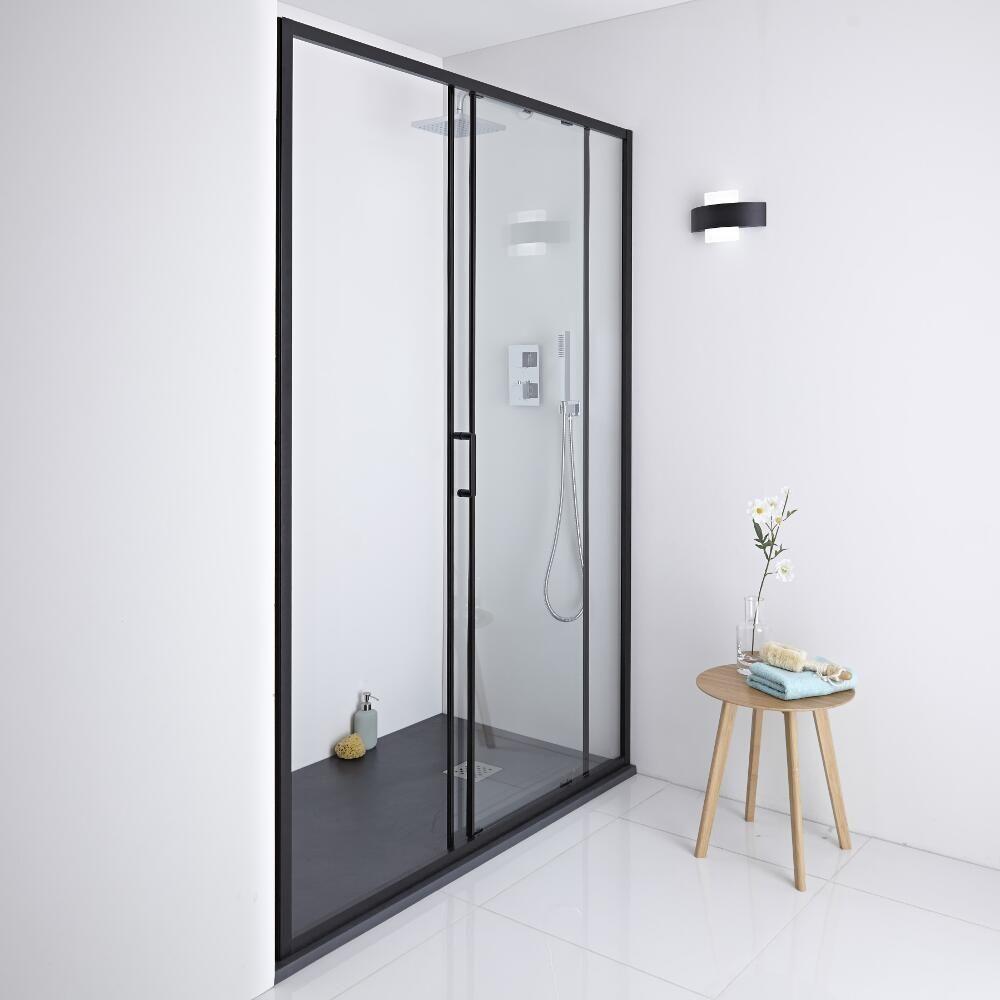 Milano Nero Shower Sliding Door Black 1100mm X 1950mm