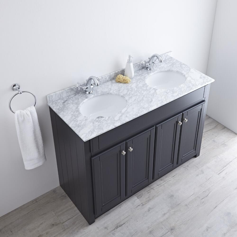 Milano Edgworth 1200mm Traditional Vanity Unit With Double Basin Anthracite