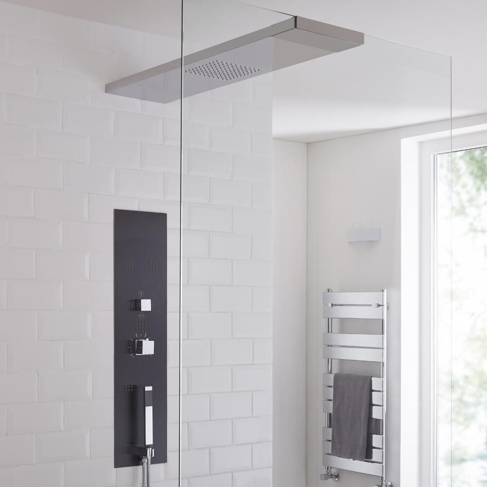 Milano Lisse Concealed Shower Tower with 900mm Glass Grabbing Shower ...