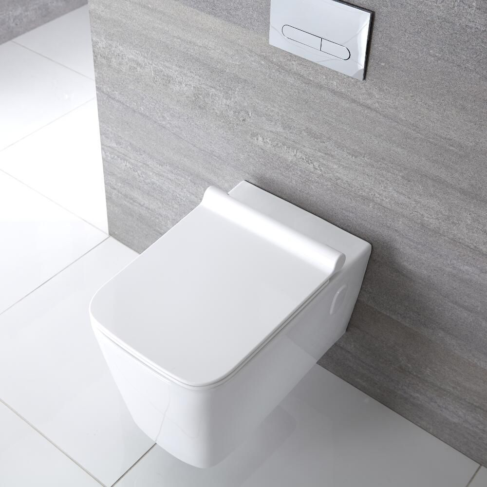 Milano Elswick Square Wall Hung Toilet With Soft Close Seat