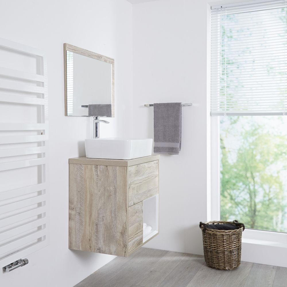 Milano Bexley - Light Oak Modern 600mm Open Shelf Vanity ...