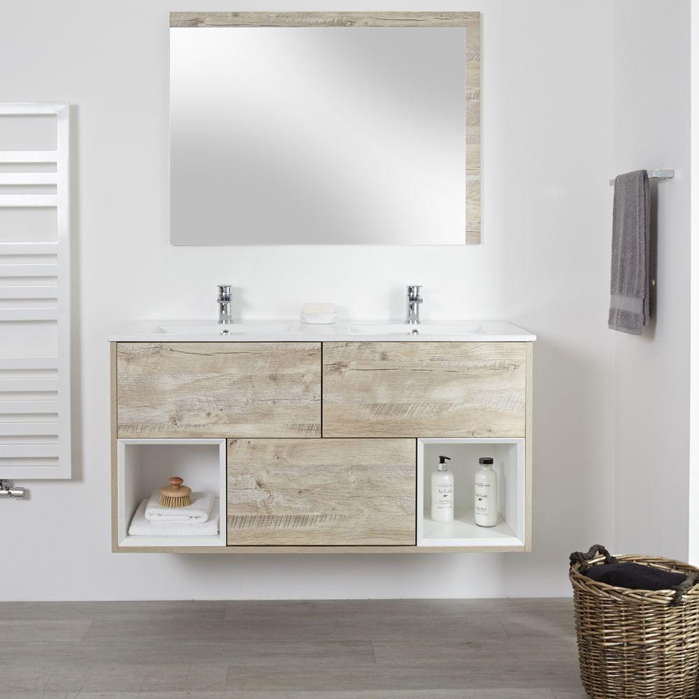 Milano Bexley Light Oak Modern 1210mm Open Shelf Vanity Unit With Double Basins 2 Tap Holes