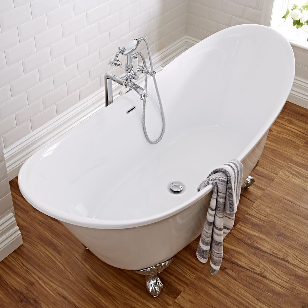 Milano 1730mm Contemporary Double Ended Freestanding Bath With ...