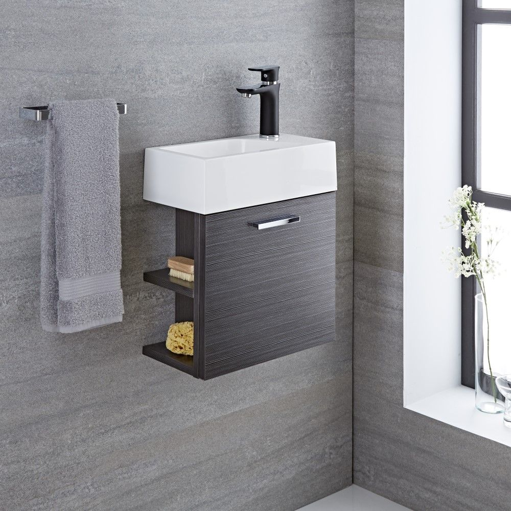 Milano Linley Grey Modern 400mm Cloakroom Wall Hung Vanity Unit With Basin 1 Tap Hole