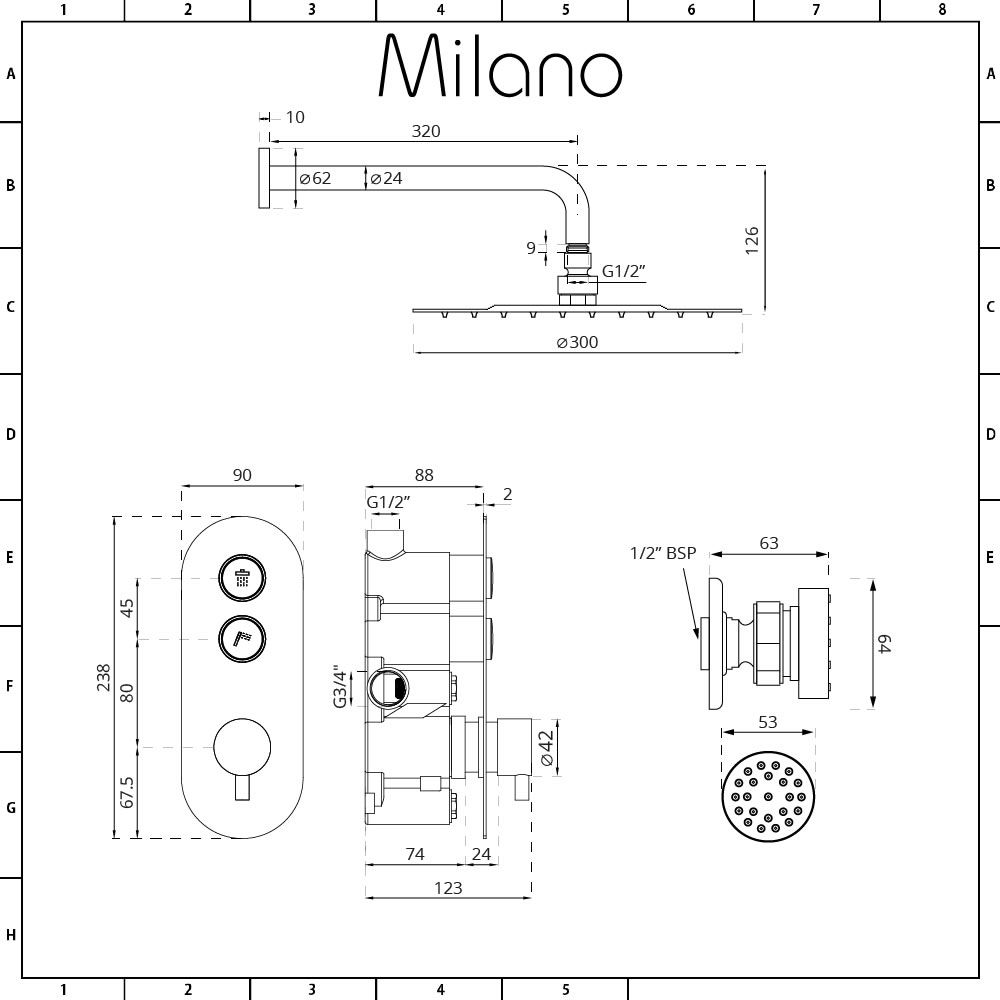 Milano Orta 2 Outlet Push Button Shower Valve With Rainfall Diagram Head And 4 Jets