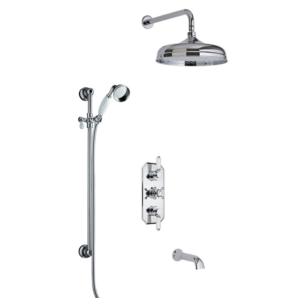Milano Traditional Triple Diverter Valve 150mm Head Wall Arm
