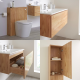 Milano Oxley - Golden Oak 800mm Vanity Unit with Basin, WC Unit, Back to Wall Pan, Storage Unit and Mirror