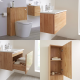 Milano Oxley - Golden Oak 600mm Vanity Unit with Basin, WC Unit, Back to Wall Pan, Storage Unit and Mirror