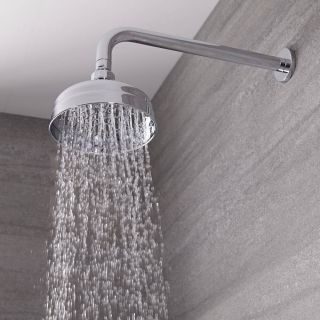 Brushed Gold Traditional 150mm Round Fixed Apron Rainfall Shower Head Milano Elizabeth