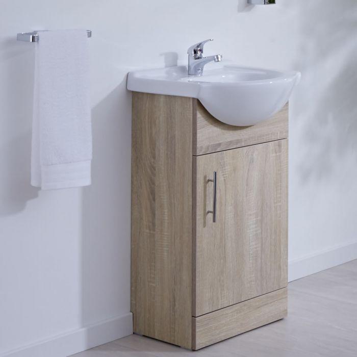 Milano Arch - Oak 450mm Floor Standing Vanity Unit with Basin