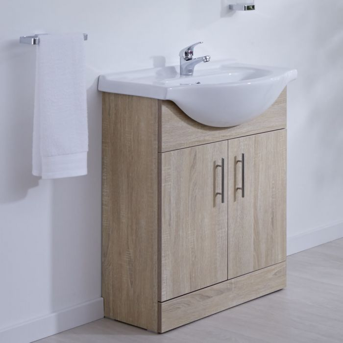 Milano Arch - Oak 650mm Floor Standing Vanity Unit with Basin