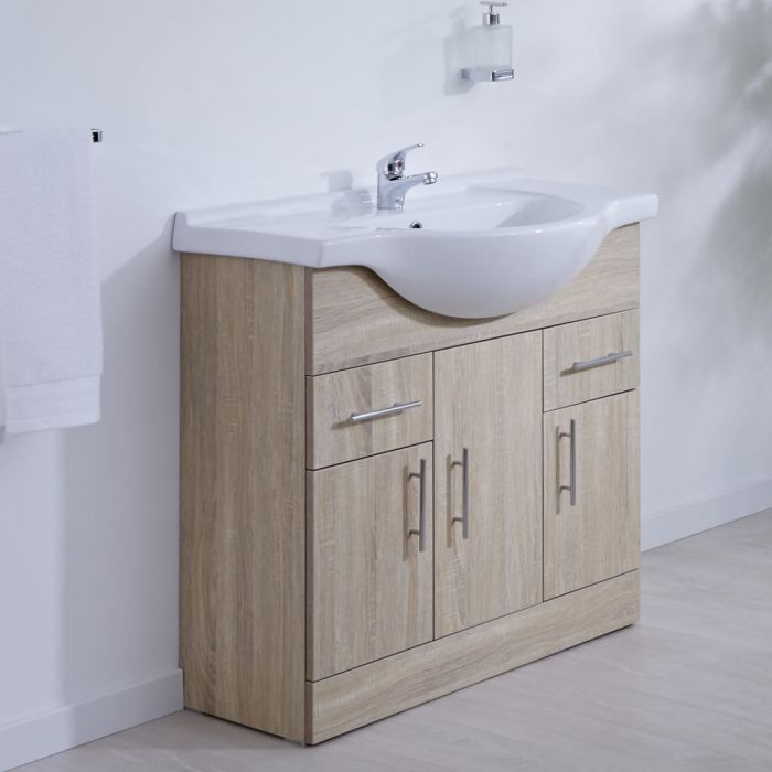 Milano Arch - Oak 850mm Floor Standing Vanity Unit with Basin
