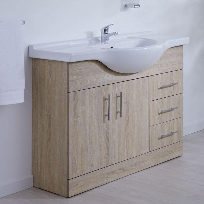 Milano Arch - Oak 1050mm Floor Standing Vanity Unit with Basin