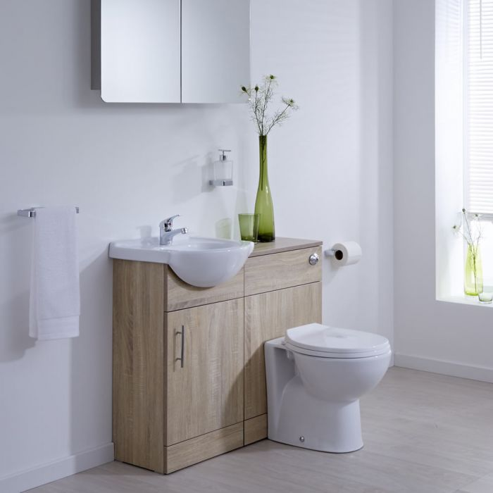 Milano Classic - Oak Modern 940mm Vanity and WC Combination Unit with Pan and Cistern