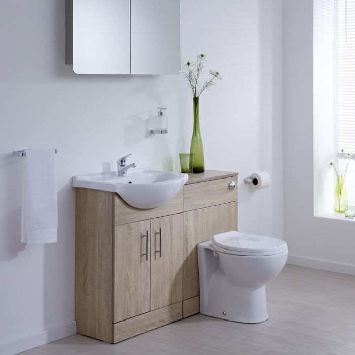 Milano Classic - Oak Modern 1040mm Vanity and WC Combination Unit with Pan and Cistern