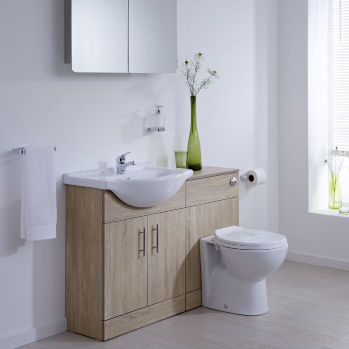 Milano Classic - Oak Modern 1140mm Vanity and WC Combination Unit with Pan and Cistern