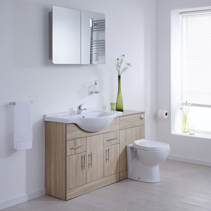 Milano Classic - Oak Modern 1340mm Vanity and WC Combination Unit with Pan and Cistern (1 Tap-Hole)