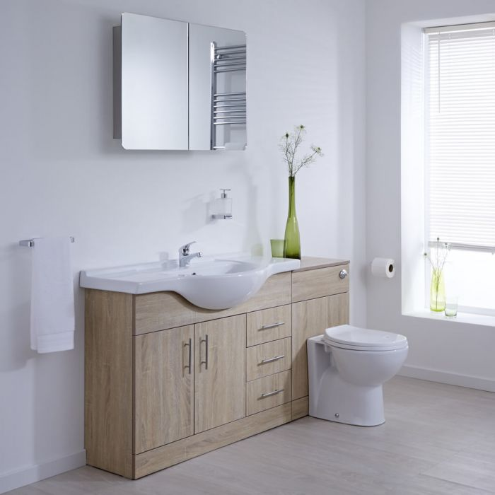 Milano Classic - Oak Modern 1540mm Vanity and WC Combination Unit with Pan and Cistern (1 Tap-Hole)