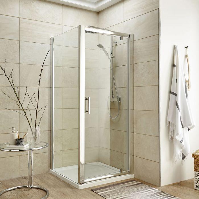 Premier 900mm Pivot Door Shower Enclosure , Tray & Waste