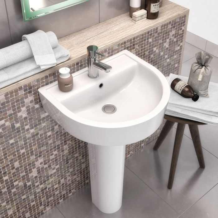 Premier Provost - 420mm Basin with Full Pedestal - 1 Tap-Hole