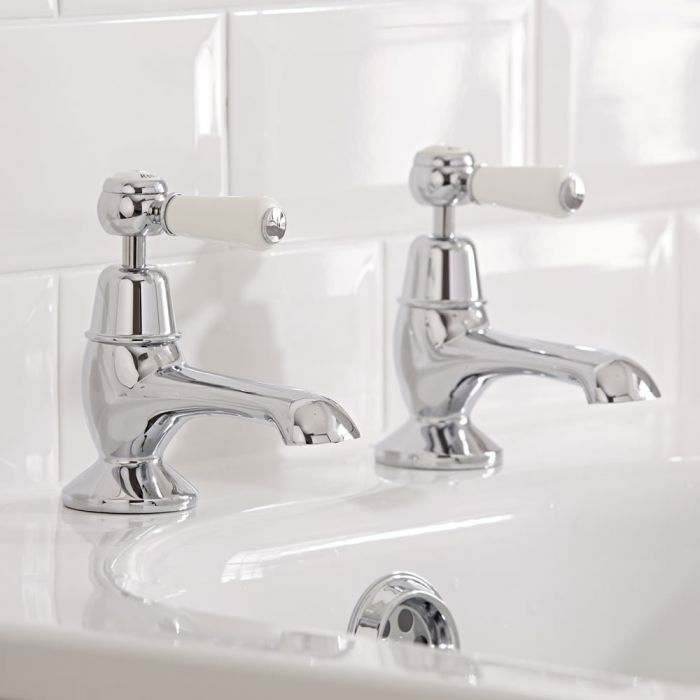Hudson Reed Elizabeth - Traditional Lever Head Deck Mounted Bath Pillar Taps - Chrome and White