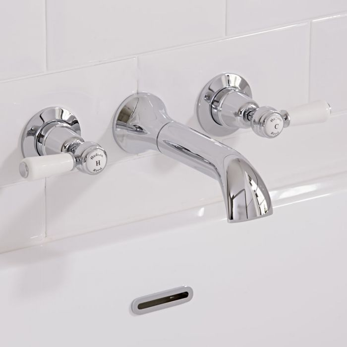 Hudson Reed Topaz - Traditional Lever Head Wall Mounted Bath Filler Taps - Chrome and White