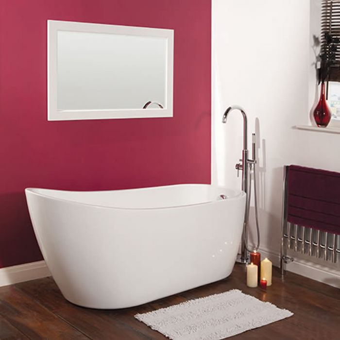 Milano Overton - White Modern Freestanding Slipper Bath - 1680mm x 720mm (No Tap-Holes)