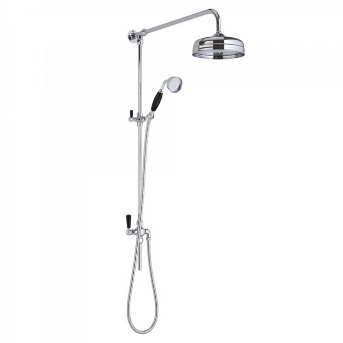 Hudson Reed Elizabeth - Traditional Victorian Grand Rigid Riser Shower Kit with Hand Shower - Chrome and Black